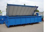 Большой шламоосушающий контейнер с верхней крышкой и тентовым покрытием